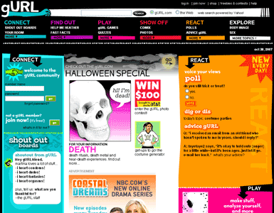 screenshot of www.gurl.com, a very interactive site