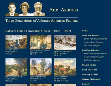 Gallery page in site for three painters