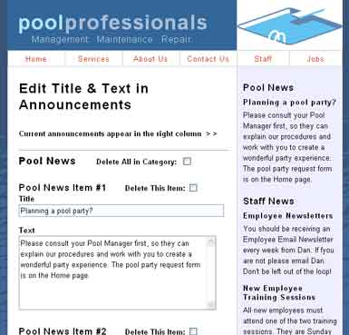 Example of a Web application that allows site owner to add temporary announcements to their Web site