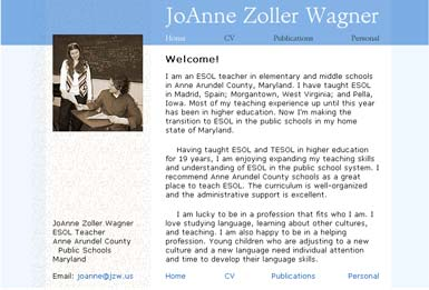Professional web site for a teacher of ESOL (English for Speakers of Other Languages)