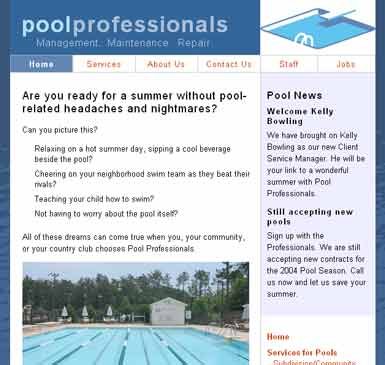 Swimming pool management company's site with both marketing and staff management features