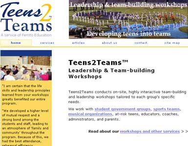 Professional site for a teen leadership and team-building trainer